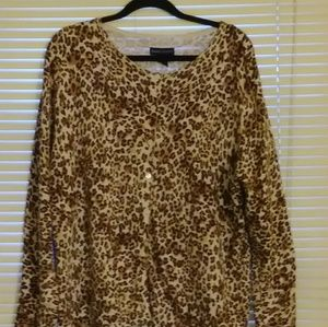 Karen Scott animal print cardigan